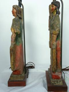 Rare Carved 18th 19th Century Italian Polychrome Candelabra Table Lamps - 570725