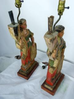 Rare Carved 18th 19th Century Italian Polychrome Candelabra Table Lamps - 570726