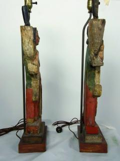 Rare Carved 18th 19th Century Italian Polychrome Candelabra Table Lamps - 570727