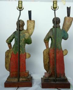 Rare Carved 18th 19th Century Italian Polychrome Candelabra Table Lamps - 570728