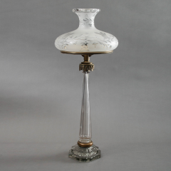 Rare Chrystal and Bronze Isis Sinumbra Argand Lamp - 37777