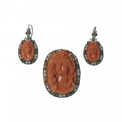 Rare Fine 19th Century Corallium Rubrum Pendant Brooch and Earrings C 1880 - 464756