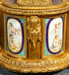 Rare Important French Ormolu Sevres Style Porcelain Jewelry Box on Bronze Table - 1007710