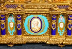 Rare Important French Ormolu Sevres Style Porcelain Jewelry Box on Bronze Table - 1007712