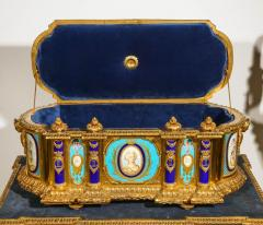 Rare Important French Ormolu Sevres Style Porcelain Jewelry Box on Bronze Table - 1007713