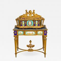 Rare Important French Ormolu Sevres Style Porcelain Jewelry Box on Bronze Table - 1008599