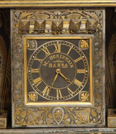 Rare Important Spanish Damascene Iron Steel Gold Inlaid Clock Eibar Spain - 1036852