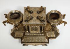 Rare Important Spanish Damascene Iron Steel Gold Inlaid Clock Eibar Spain - 1193026