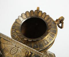 Rare Important Spanish Damascene Iron Steel Gold Inlaid Clock Eibar Spain - 1193028