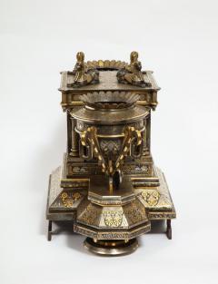 Rare Important Spanish Damascene Iron Steel Gold Inlaid Clock Eibar Spain - 1193030