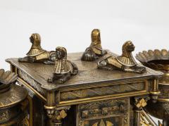 Rare Important Spanish Damascene Iron Steel Gold Inlaid Clock Eibar Spain - 1193031