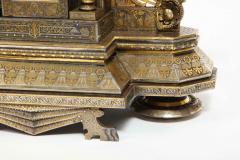 Rare Important Spanish Damascene Iron Steel Gold Inlaid Clock Eibar Spain - 1193033