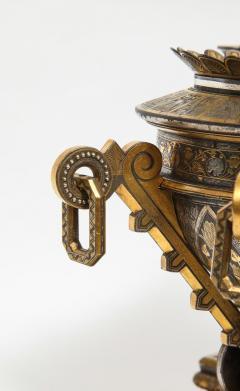 Rare Important Spanish Damascene Iron Steel Gold Inlaid Clock Eibar Spain - 1193034