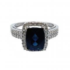 Rare Indicolite Blue Tourmaline and Halo Diamond Ring in 14KT White Gold - 1904503