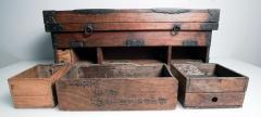 Rare Japanese Wood Chest Zenibako on Custom Stand - 1389590