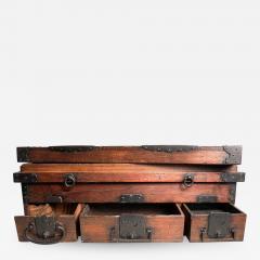 Rare Japanese Wood Chest Zenibako on Custom Stand - 1393471