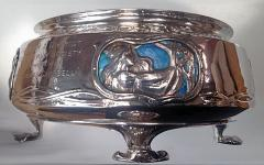 Rare LIBERTY Silver Enamel Rose Bowl Birmingham 1902 - 61176