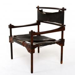 Rare PERNO Chair Distressed Leather Safari Lounge by Don Shoemaker - 1355595