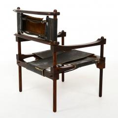 Rare PERNO Chair Distressed Leather Safari Lounge by Don Shoemaker - 1355600