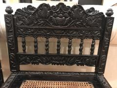 Rare Pair Indian Carved Ebony chairs - 1207585