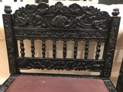 Rare Pair Indian Carved Ebony chairs - 1207586