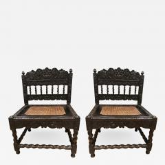 Rare Pair Indian Carved Ebony chairs - 1210477