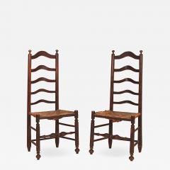 Rare Pair of Five Slat Ladderback Side Chairs - 1023291