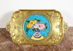 Rare Pair of French Japonisme Bronze Cloisonne Enamel Trays Attributed Lievre - 805952
