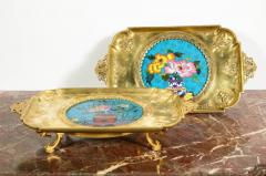 Rare Pair of French Japonisme Bronze Cloisonne Enamel Trays Attributed Lievre - 805953