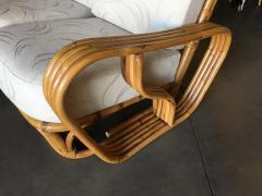 Rare Paul Frankl Style Square Pretzel S Arm Rattan Sofa w 2 Tier Table - 1347399