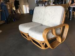 Rare Paul Frankl Style Square Pretzel S Arm Rattan Sofa w 2 Tier Table - 1347400