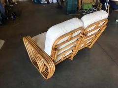 Rare Paul Frankl Style Square Pretzel S Arm Rattan Sofa w 2 Tier Table - 1347401