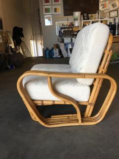 Rare Paul Frankl Style Square Pretzel S Arm Rattan Sofa w 2 Tier Table - 1347402