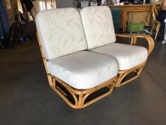 Rare Paul Frankl Style Square Pretzel S Arm Rattan Sofa w 2 Tier Table - 1347403