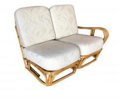 Rare Paul Frankl Style Square Pretzel S Arm Rattan Sofa w 2 Tier Table - 1347405