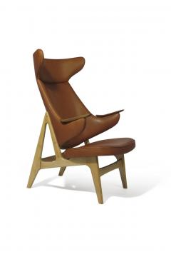 Rare Scandinavian Ox Lounge Chair in Saddle Leather - 1264843