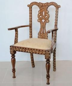 Rare Set of Four Anglo Indian Hardwood and Bone Inlaid Armchairs - 390499