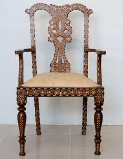 Rare Set of Four Anglo Indian Hardwood and Bone Inlaid Armchairs - 390500