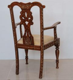Rare Set of Four Anglo Indian Hardwood and Bone Inlaid Armchairs - 390501