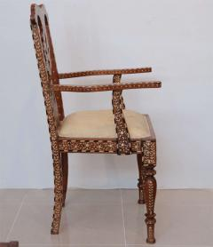 Rare Set of Four Anglo Indian Hardwood and Bone Inlaid Armchairs - 390502