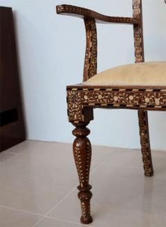 Rare Set of Four Anglo Indian Hardwood and Bone Inlaid Armchairs - 390503