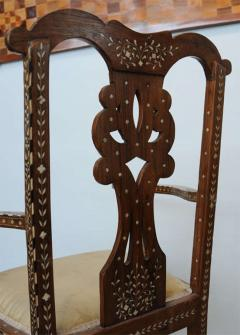 Rare Set of Four Anglo Indian Hardwood and Bone Inlaid Armchairs - 390506