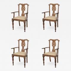 Rare Set of Four Anglo Indian Hardwood and Bone Inlaid Armchairs - 561131