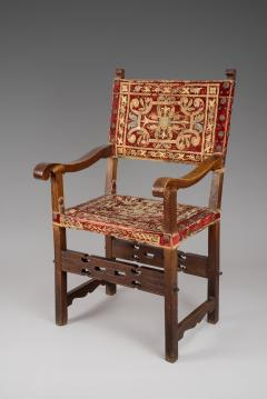 Rare Spanish Arm Chair with Original Embroidered Fabric - 118246