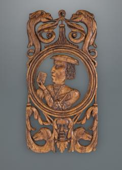 Rare and Interesting 16th Century Carved and Pierced Oak Portrait Panel - 1655634