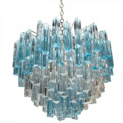 Rare and Spectacular Pair of Italian Aquamarine Triedri Chandeliers - 106914