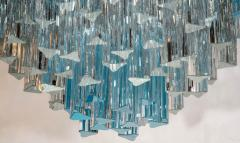 Rare and Spectacular Pair of Italian Aquamarine Triedri Chandeliers - 106915