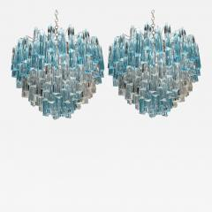 Rare and Spectacular Pair of Italian Aquamarine Triedri Chandeliers - 110575