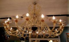 Rare large 1970 Murano blown glass chandelier - 904433