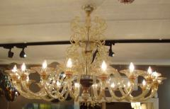 Rare large 1970 Murano blown glass chandelier - 904434